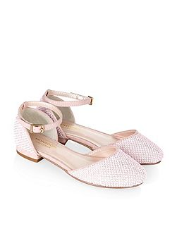 Girls Textured 2 Part Flat Shoe