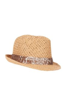 Accessorize Sequin trim trilby hat