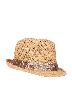 Sequin trim trilby hat