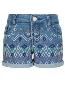 Monsoon Girls Abby Aztec Denim Short