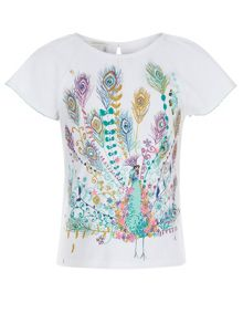 Monsoon Girls Priti Peacock Tee