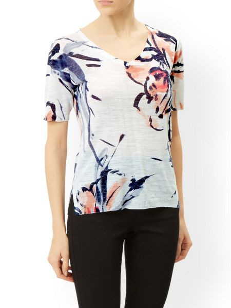 Monsoon Rosely Painterly Floral Print Top