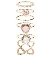 Accessorize Pretty crystal styling ring set