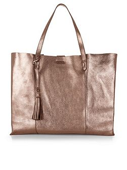 Leather slouchy shopper bag