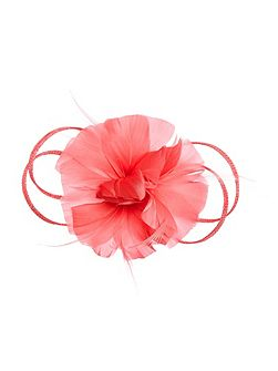 Athena feather & flower fascinator clip