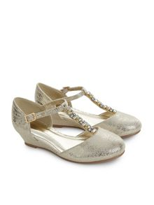 Monsoon Girls Jewel T-Bar Wedge Shoe