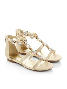 Monsoon Girls Pretty Gem Flower T-Bar Sandals