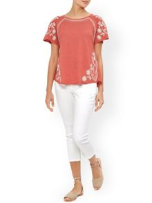 Monsoon Valentina Embroidered Linen Top
