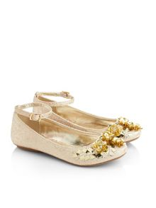 Monsoon Girls Mixed Sequin Flower Ballerina shoe