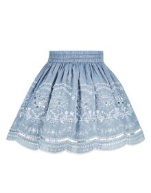 Monsoon Girl Chaana Chambray Embro Skirt