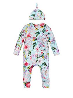 Baby Girl Newborn Sleepsuit and Hat