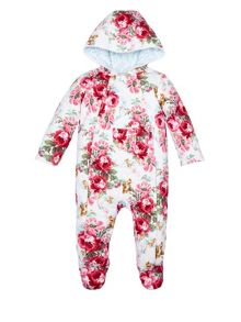 Monsoon Baby Girl NB Quilted Willow Pramsuit