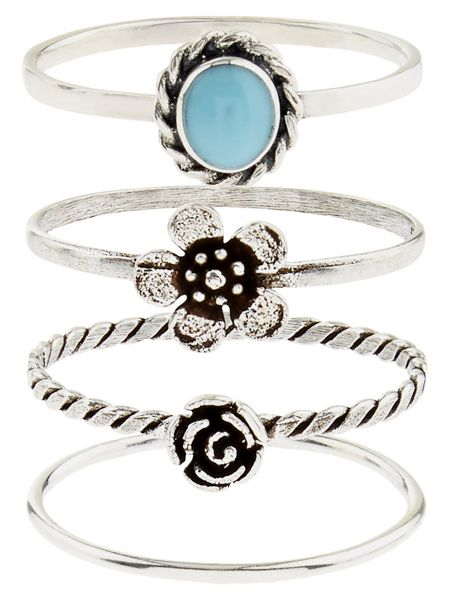 Accessorize Sterling  Silver 4 Flower Stacking Rings
