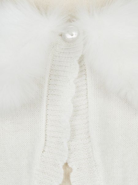 Monsoon Baby Girl Firenze Faux-Fur Collar Cardigan