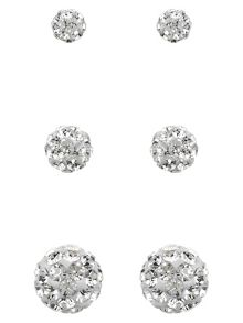 Accessorize Sterling Silver 3x Pave Ball Earrings