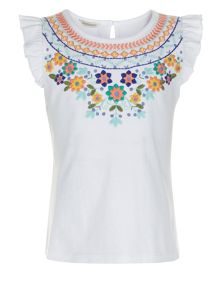 Monsoon Girls Colette Embroidered T-Shirt