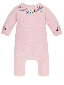 Monsoon Baby Girl Embroidered Knitted Sleepsuit