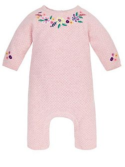 Baby Girl Embroidered Knitted Sleepsuit