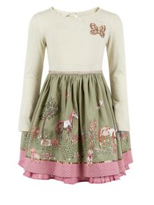 Monsoon Girls Rosette Embellished Horse-Print Dress