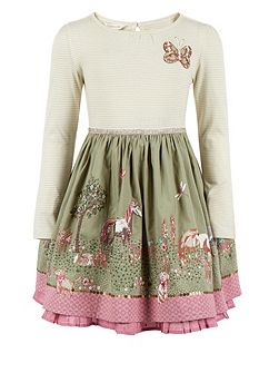 Girls Rosette Embellished Horse-Print Dress