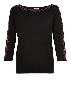 Emi Embroidered Shoulder Jumper
