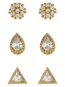 Accessorize 3 X Crystal Shapes Stud Earrings Set