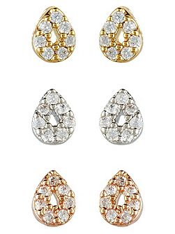 Rose Gold 3 X Mixed Plate Stud Earring