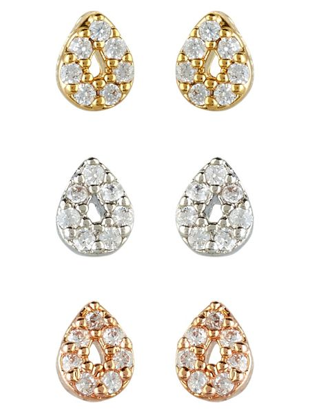 Accessorize Rose Gold 3 X Mixed Plate Stud Earring