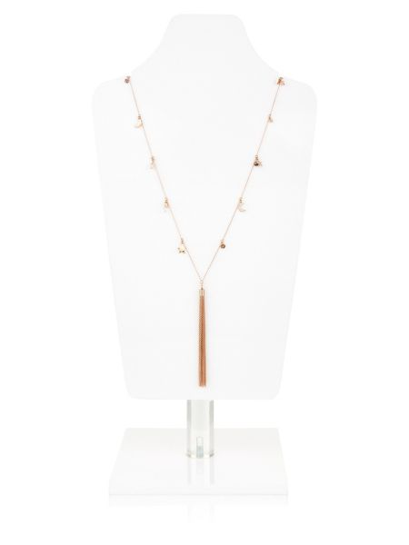 Accessorize Rose Gold Moon & Star Tassel Necklace