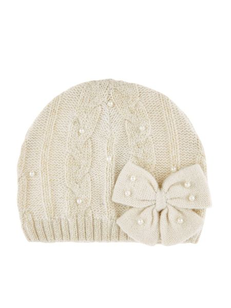 Monsoon Girls Sparkle Cable Pearl Bow Beanie