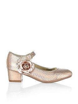 Girls Metallic Flower Heel Shoe