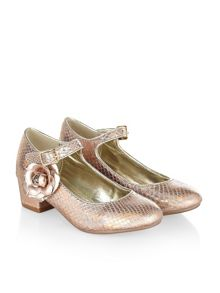 Monsoon Girls Metallic Flower Heel Shoe