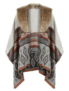 Accessorize Diamond faux fur trim poncho