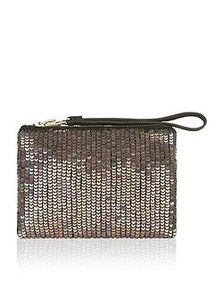 Angelina sparkle leather ziptop clutch bag
