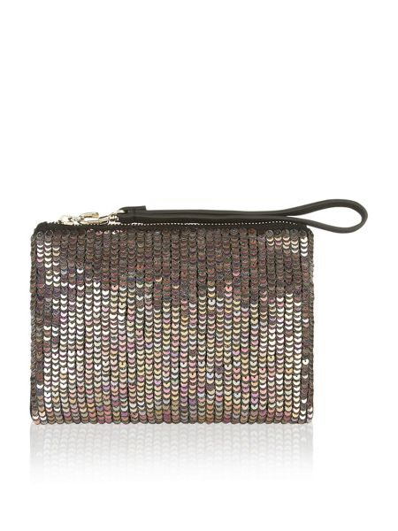 Accessorize Angelina sparkle leather ziptop clutch bag