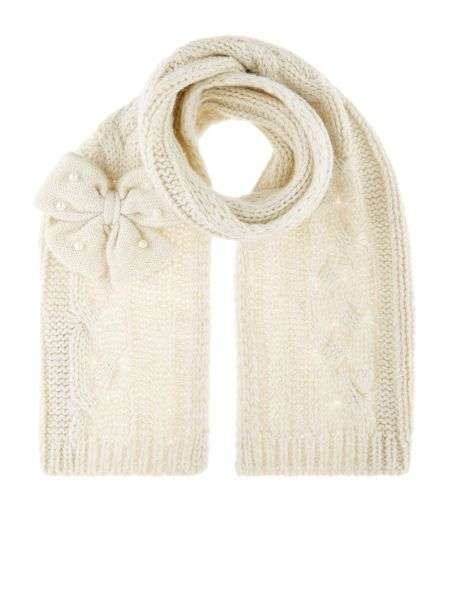 Monsoon Girls Sparkle Cable Pearl Pocket Scarf
