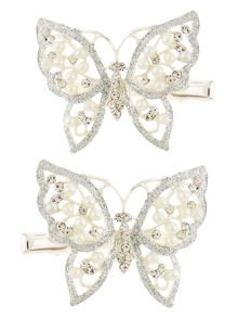 Monsoon Girls 2Pk Glitter Butterfly Clips