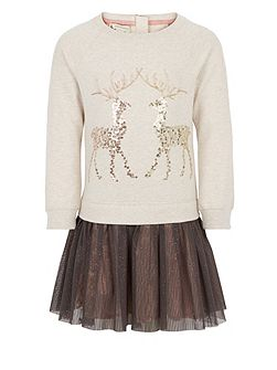 Girls Ruby Reindeer 2 in 1 Dress