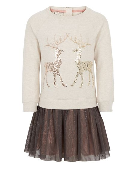 Monsoon Girls Ruby Reindeer 2 in 1 Dress