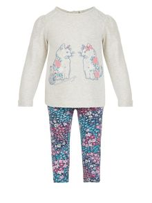 Monsoon Baby Girl Cat Sweat Top & Legging Set