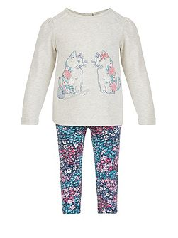Baby Girl Cat Sweat Top & Legging Set