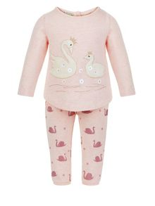 Monsoon Baby Girl Swan Sweat Set