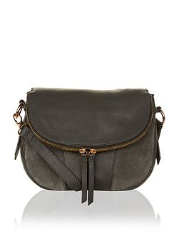 Tallulah suede & leather foldover across body bag