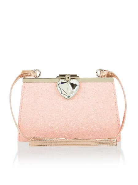 Monsoon Girls Love Heart Frame Glitter Bag