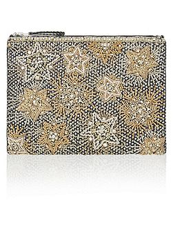 Star Zip Top Clutch Bag
