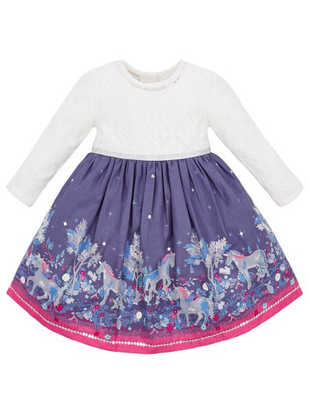 Monsoon Baby Girl Emily Unicorn Dress