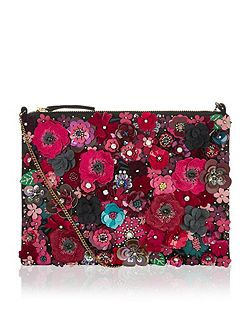 Mabel 3d floral clutch bag