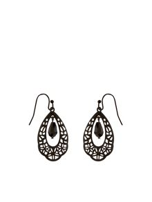 Accessorize Jet Filigree Short Drop Earrings