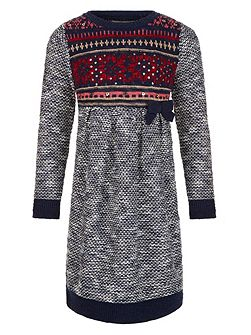 Girls Farrah Fairisle Knitted Dress