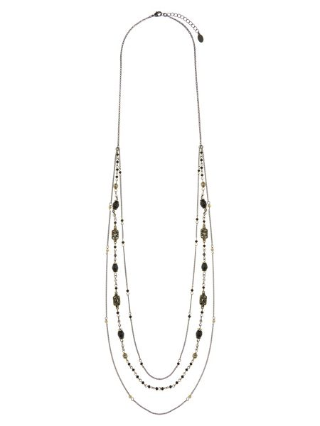 Accessorize Jet Beaded Rope Necklace